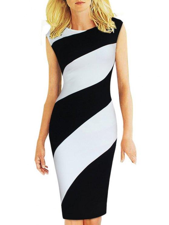 lady Black White Stripe Splicing Sleeveless Dress - BLACK S