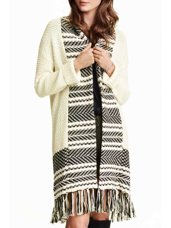 women Stripe Spliced Long Sleeve Cardigan - WHITE AND BLACK ONE SIZE(FIT SIZE XS TO M)
