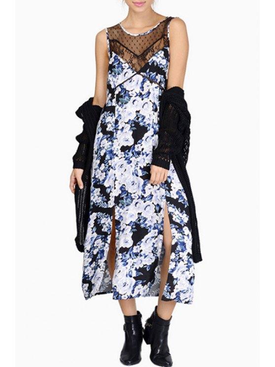 unique Scoop Neck Voile Splicing Floral Print Dress - AS THE PICTURE S