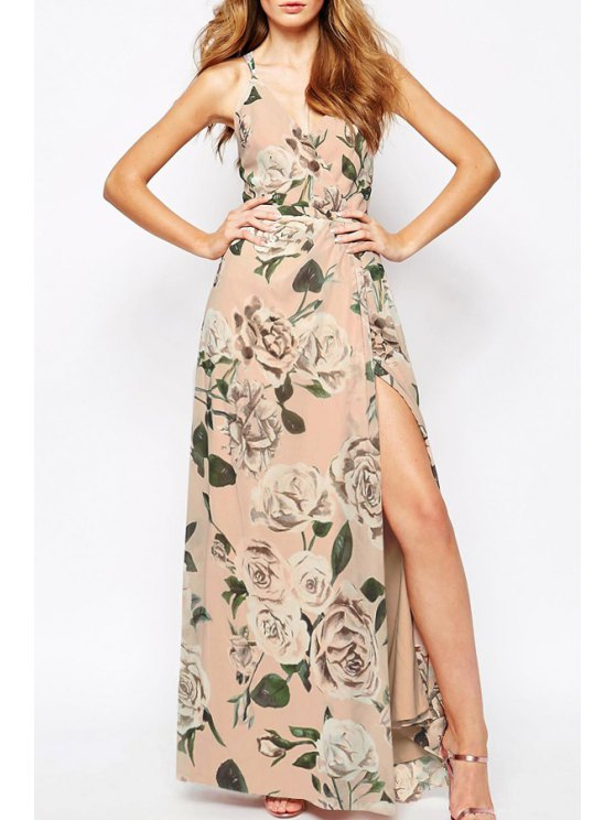 shop V Neck Floral Print Backless Dress - AS THE PICTURE S