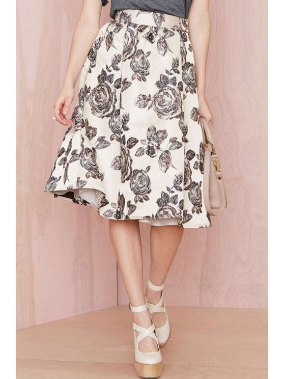 womens Floral Print Ball Gown Skirt - WHITE AND BLACK M
