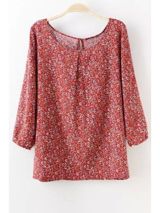 ladies 3/4 Sleeves Tiny Floral Print Blouse - RED M