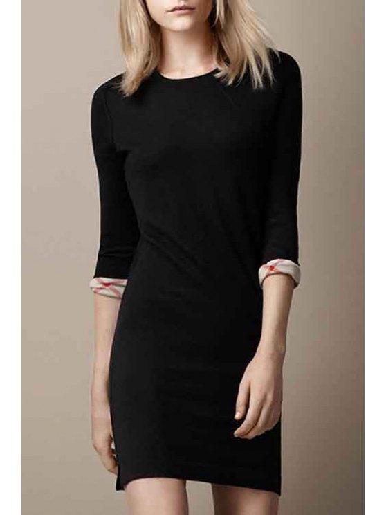 lady Black Round Neck 3/4 Sleeve Sweater Dress - BLACK S