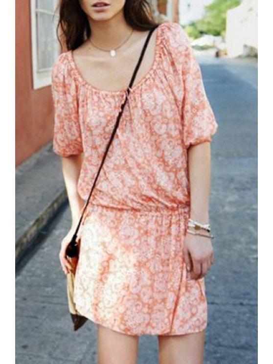 women's Print Scoop Neck 3/4 Sleeve Dress - ORANGE S