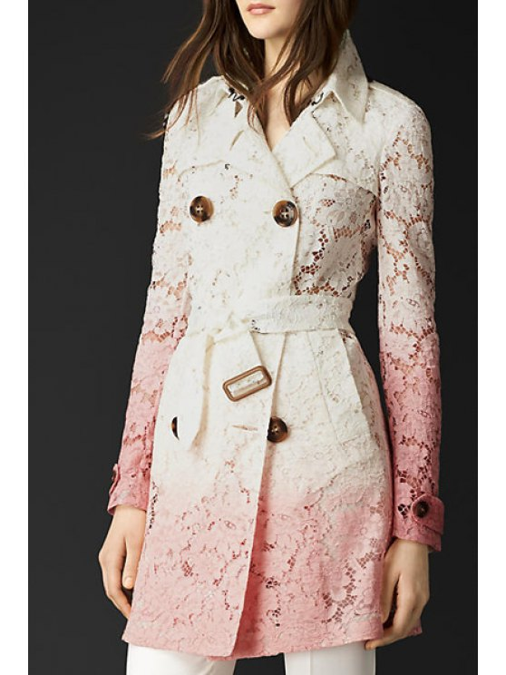 best Lace Lapel Neck Long Sleeve Trench - PINK AND WHITE S