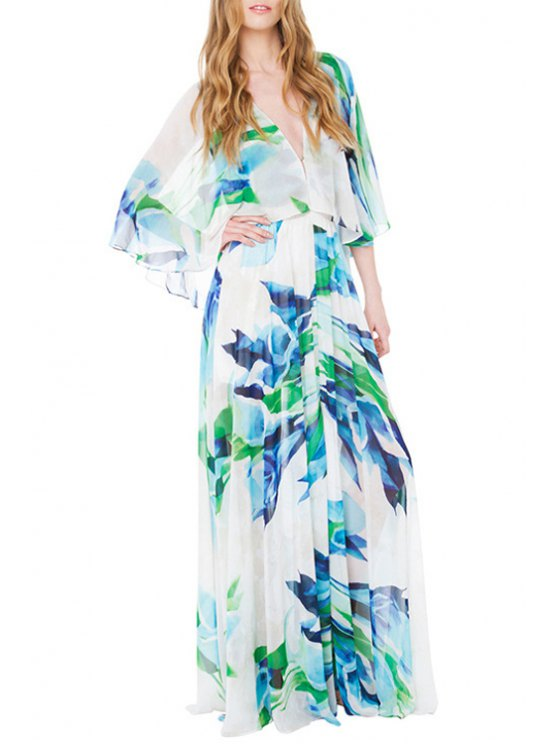 new Green Blue Print 3/4 Sleeve Dress - WHITE S