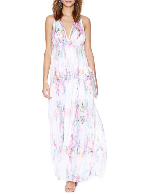 chic Deep V Neck Colorful Printed Backless Dress - WHITE S