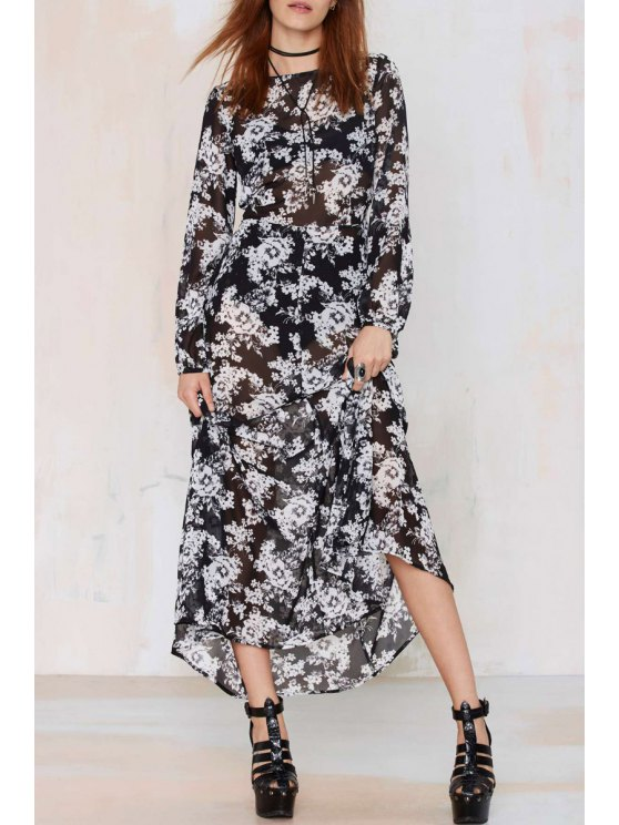 women's Long Sleeve Floral Chiffon Maxi Dress - BLACK S