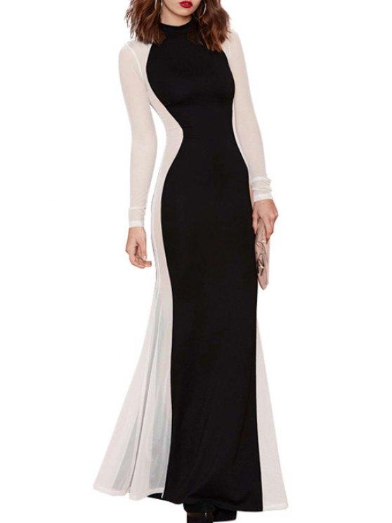 women Color Block Fishtail Maxi Dress - WHITE AND BLACK S