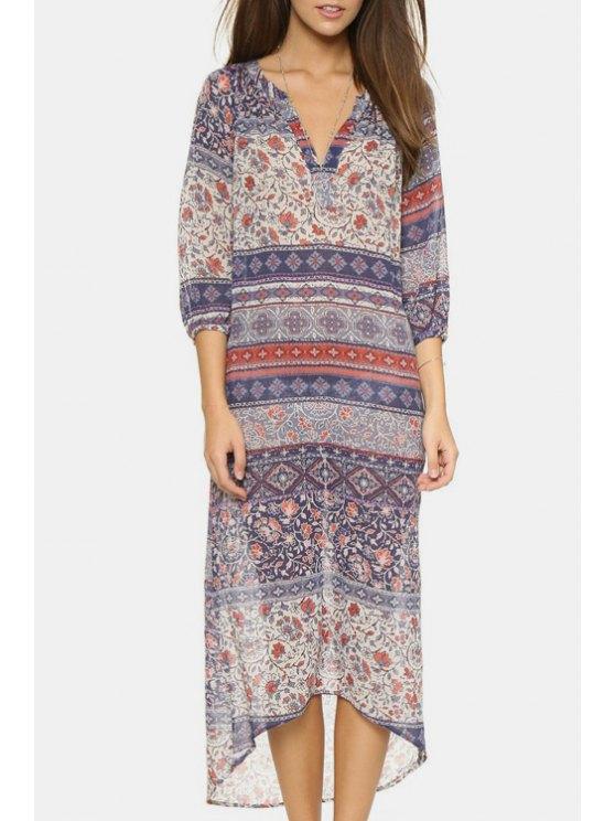 sale Bohemian Print V Neck 3/4 Sleeve Dress - LIGHT PURPLE XS