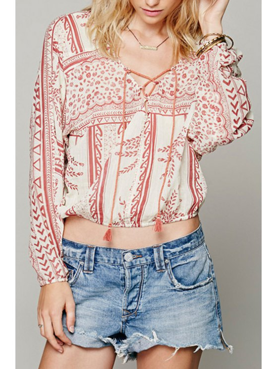 latest Tiny Floral V Neck Long Sleeve Blouse - WATERMELON RED XS