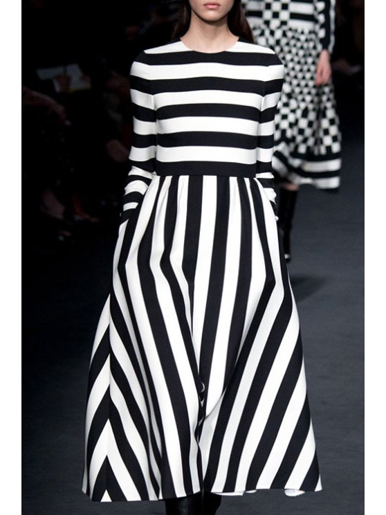 chic Striped Half Sleeve A Line Dress - WHITE AND BLACK S