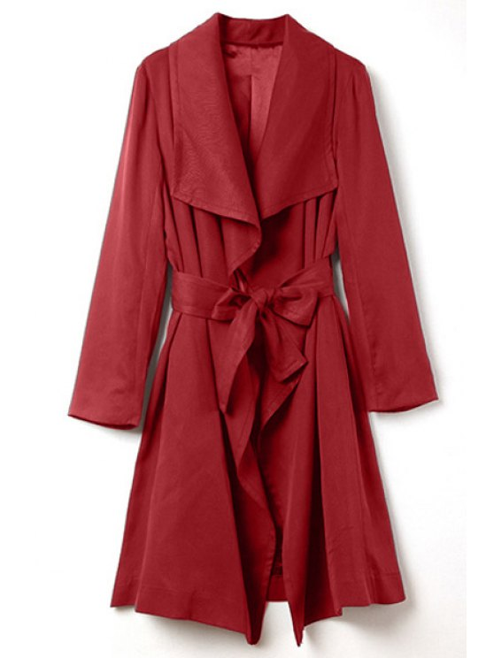hot Pure Color Turn Down Collar Long Sleeve Trench - RED S