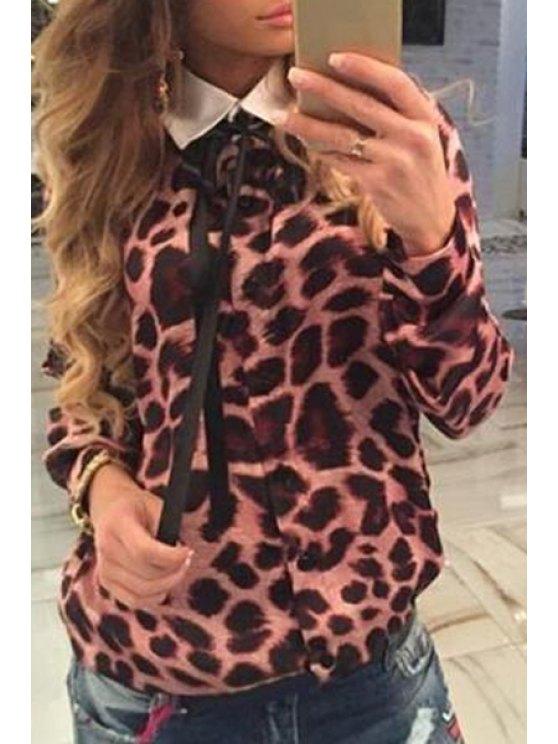 ladies Leopard Print Loose-Fitting Shirt - LEOPARD S
