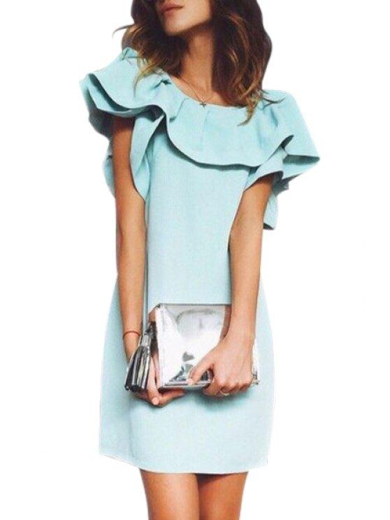 fancy Ruffles Spliced Short Sleeve Dress - AZURE S