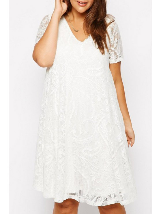 chic White Lace V Neck Short Sleeve Dress - WHITE S