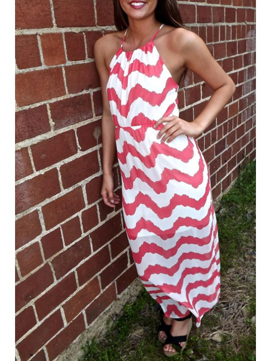 outfits Spaghetti Strap Cross Backless Zig Zag Dress - RED S