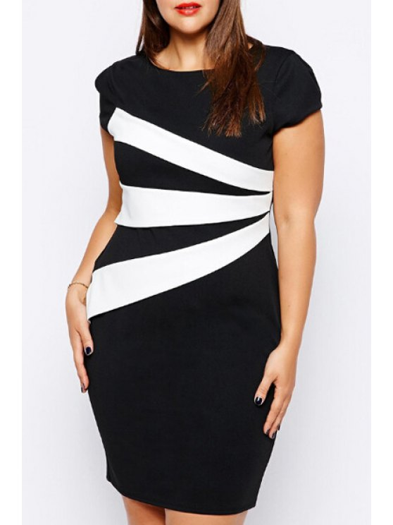 new Black and White Short Sleeve Dress - WHITE AND BLACK 3XL