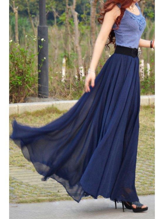 fashion Sleeveless Color Block Scoop Neck Maxi Dress - PURPLISH BLUE S