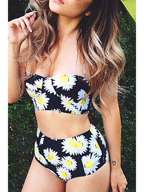 womens Strapless Sunflower Two-Piece Swimsuit - BLACK S