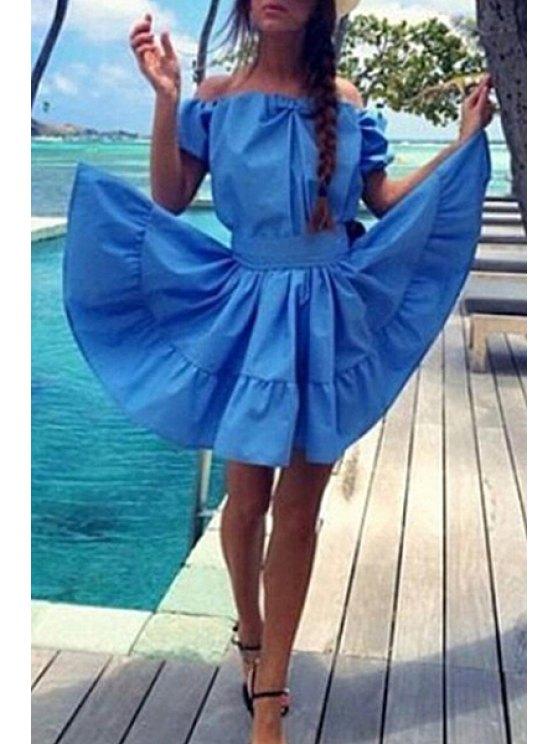 sale Off-The-Shoulder Ruffled Azure Dress - AZURE M