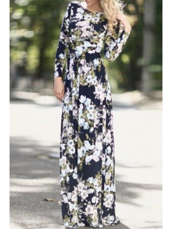 best Full Floral Print Long Sleeves Maxi Dress - BLACK L