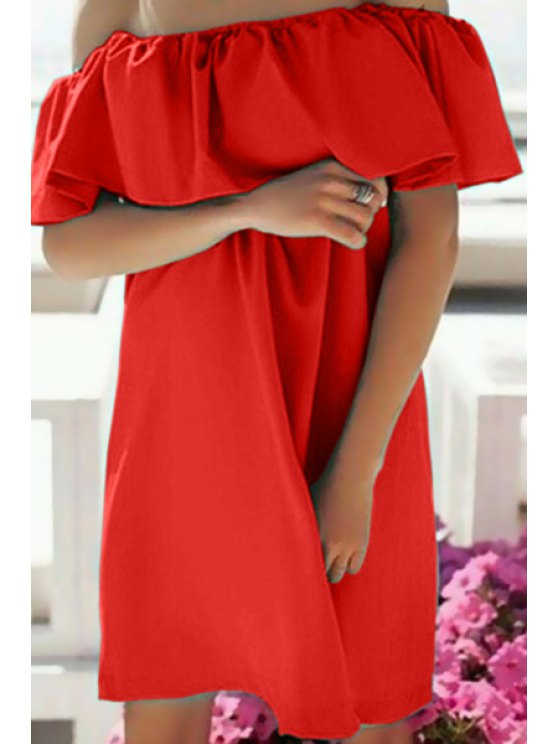 women's Off-The-Shoulder Ruffle Dress - RED S
