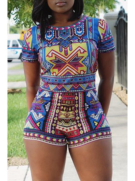 latest Colorful Geometric Print Short Sleeve T-Shirt + Shorts - AS THE PICTURE S