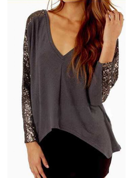 women V Neck Sequins Splicing Long Sleeve T-Shirt - GRAY S
