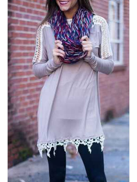 chic Scoop Neck Openwork Lace Splicing Dress - GRAY L