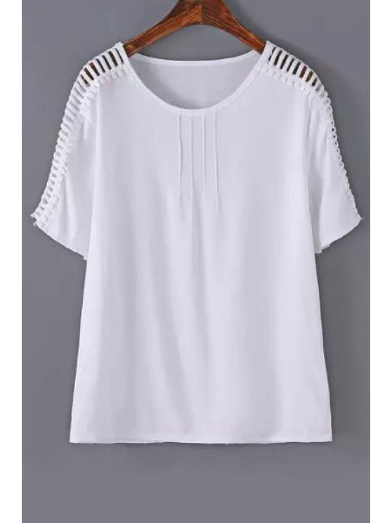 online Hollow Out Loose T-Shirt - WHITE S