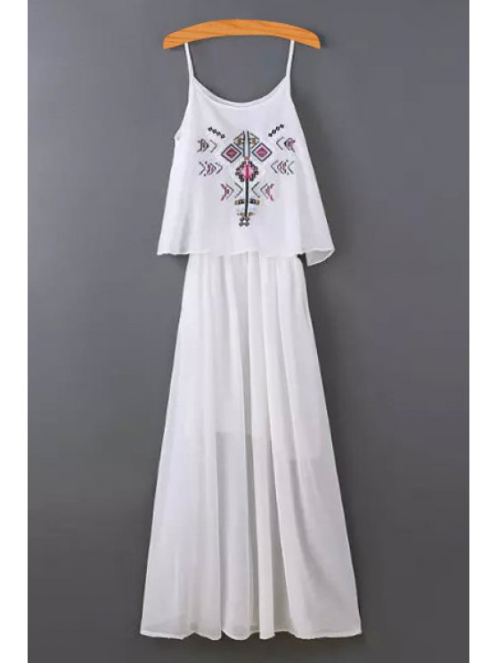 fashion Spaghetti Strap Embroidered Layered Dress - WHITE S