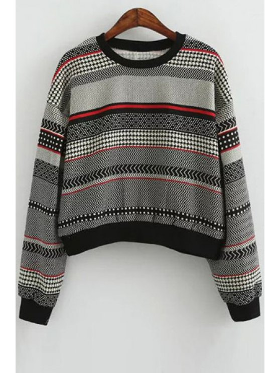 womens Color Block Stripes Long Sleeve Sweatshirt - BLACK ONE SIZE(FIT SIZE XS TO M)