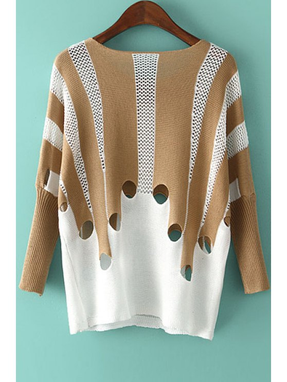 affordable Hollow Out Color Block Long Sleeve Sweater - KHAKI ONE SIZE(FIT SIZE XS TO M)
