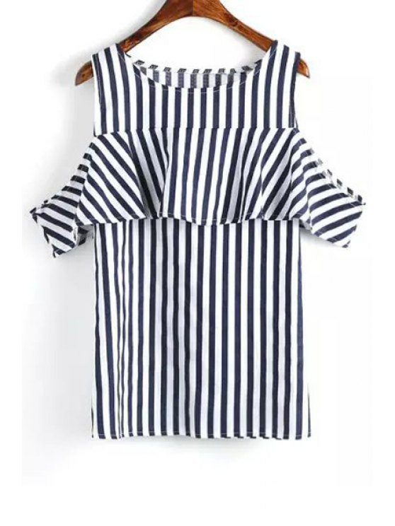 shops Short Sleeve Striped Cut Out T-Shirt - BLUE AND WHITE L