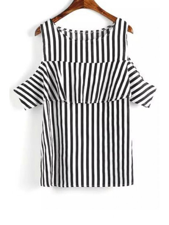fashion Short Sleeve Striped Cut Out T-Shirt - WHITE AND BLACK L