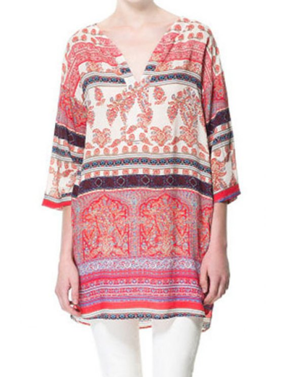women V Neck Colorful Printed 3/4 Sleeve Dress - COLORMIX S
