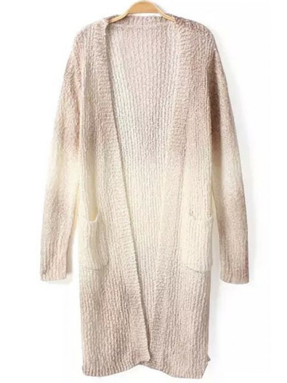 new Collarless Color Block Long Sleeve Cardigan - GRAY ONE SIZE(FIT SIZE XS TO M)