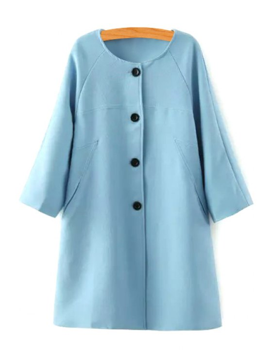trendy 3/4 Sleeve Solid Color Loose-Fitting Coat - BLUE S