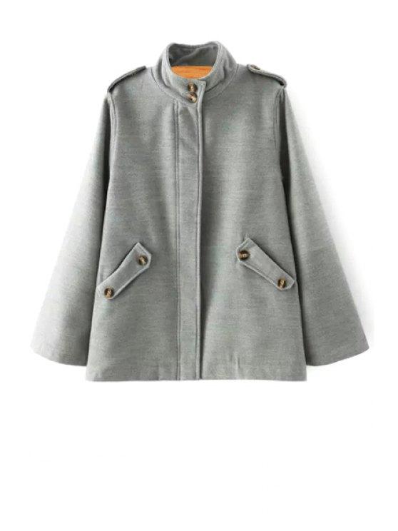 outfit Stand Neck Epaulet Pocket Woolen Coat - GRAY S