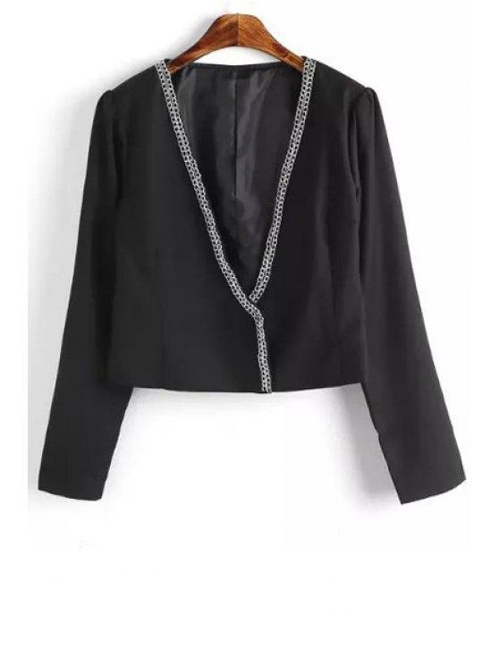 fancy Chains Embellished Long Sleeve Blazer - BLACK S