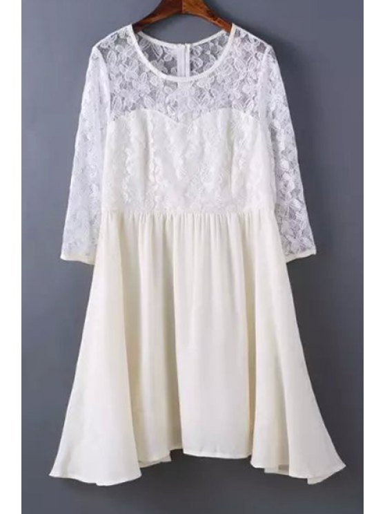 online 3/4 Sleeve Lace Spliced Openwork Dress - WHITE ONE SIZE(FIT SIZE XS TO M)