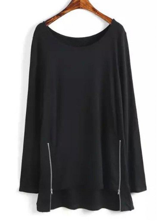 affordable High Low Zipper Embellished Long Sleeve Dress - BLACK S