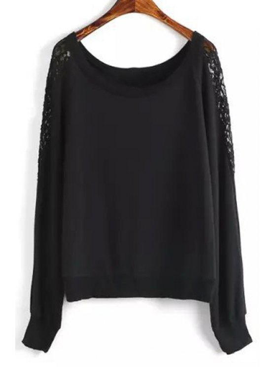 shops Black Lace Splicing Long Sleeve Sweatshirt - BLACK L