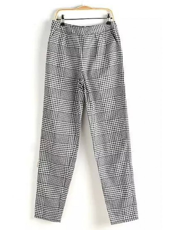 latest Black White Plaid Zipper Fly Pants - WHITE AND BLACK ONE SIZE(FIT SIZE XS TO M)