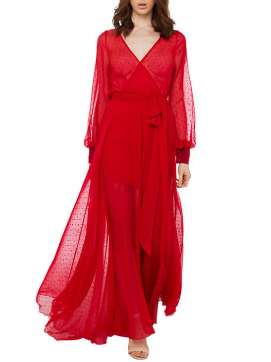 trendy See-Through Self-Tie Red Maxi Dress - RED S