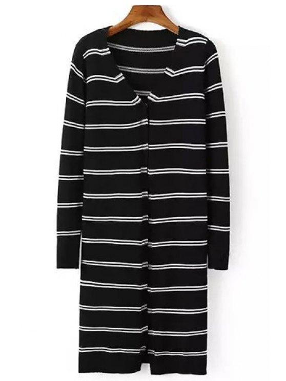 new V Neck Black White Stripe Long Sleeve Cardigan - BLACK S