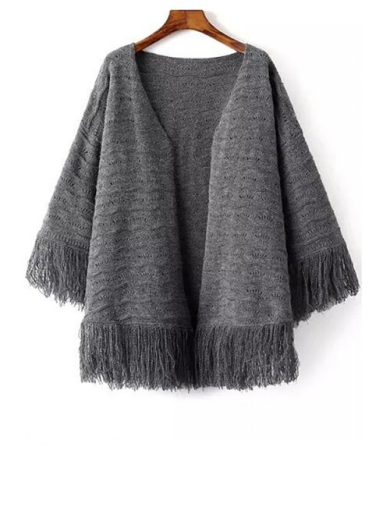 outfits V-Neck Fringe Splicing Long Sleeve Cardigan - GRAY ONE SIZE(FIT SIZE XS TO M)