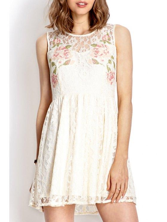 womens Lace White Round Neck Sundress - WHITE S