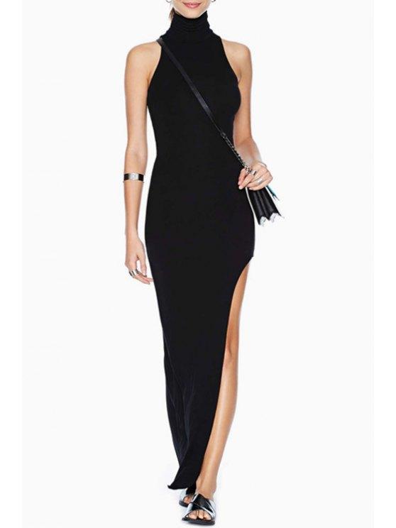 sale Turtle Neck High Slit Black Maxi Dress - BLACK S